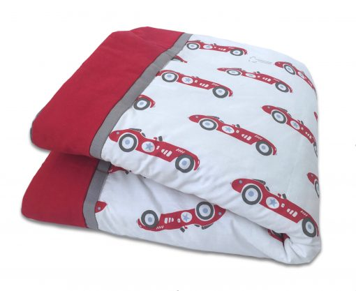 Red Vintage Race Cars Baby/Toddler Blanket - Car Baby Blanket Quilt Toddler Personalized