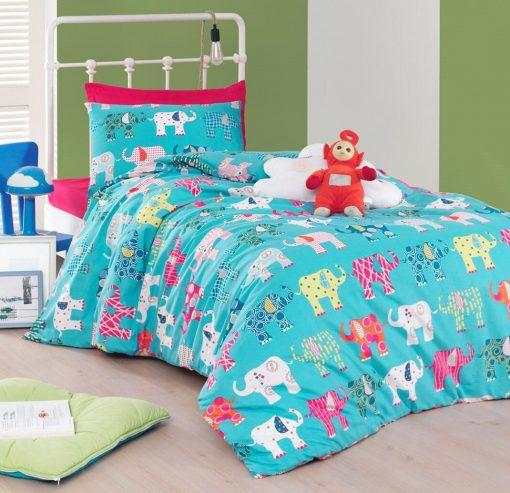 Pure Organic Cotton, Ecofriendly Dyeing Kids Elephant Bedding Set/Twin - Single Size Elephant Duvet Cover Set Quilt
