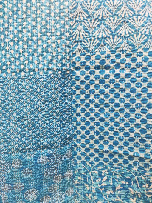 Original Hand Block Printed Bedcover Hand Stitched Throw Reversible Blanket Blue Kantha Quilt Organic Cotton Elephant Print in Color