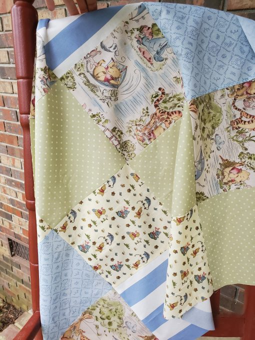 Handmade Winnie The Pooh Baby Quilt, Personalized Blue & Sage Green