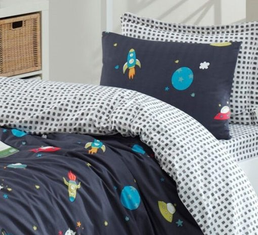 Organic Cotton, Eco Friendly Dyeing, Hypoallergenic Kids Bedding Set/Twin, Boys Duvet Cover Toddler Quilt Space
