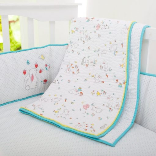 Snuggle Bunny Organic Cotton Baby/Toddler Quilt | Gender Neutral Woodland Aqua Red Green Nursery Crib Baby Bedding - Free Personalization
