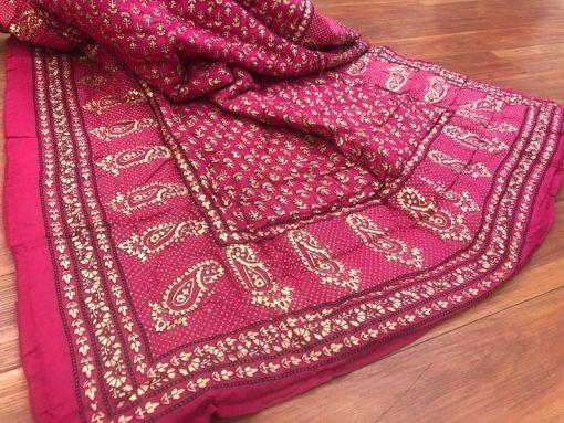 Jaipuri Pink Floral Red Jaipur Quilt Kantha Blanket Warm Throw Hand Block Printed Cotton Voile Handmade