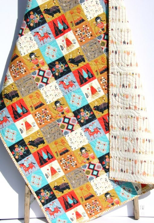Arrow Baby Blanket, Quilt, Southwest Indian Crib Bedding, Teepee Navy Floral, Tribal Nursery Girl Quilt