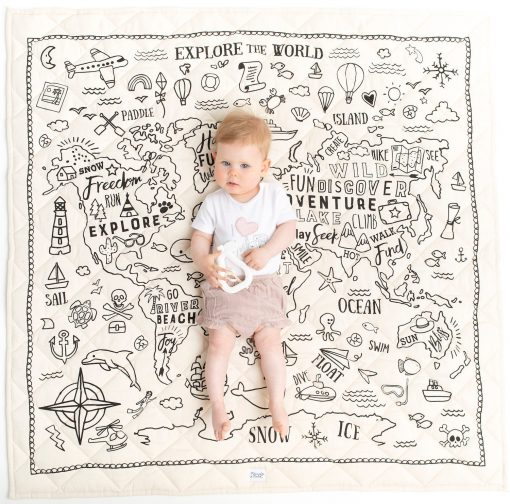 Explore The World Organic Playmat - Black Print On Natural Gender Neutral Unisex Baby Gift Shower Baby. Post Now