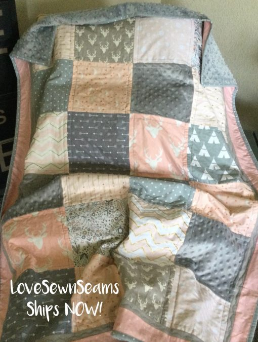 Ships Now/Sweet Woodland Quilt/Baby Quilt/Modern Baby Quilt/Coral & Gray Quilt