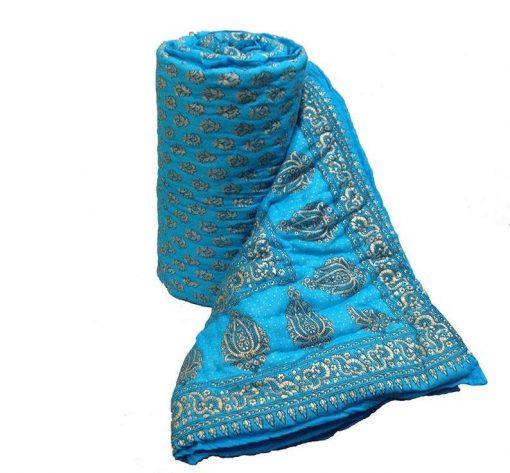 Handmade Quilt Jaipuri Razai Block Printed Reversible Warm Blanket Cotton Premium Print Gold