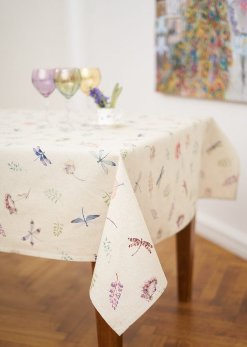 Square/Rectangular Dragonfly & Flower Print Tablecloth On Linen Background, Botanical Pattern Table Cover