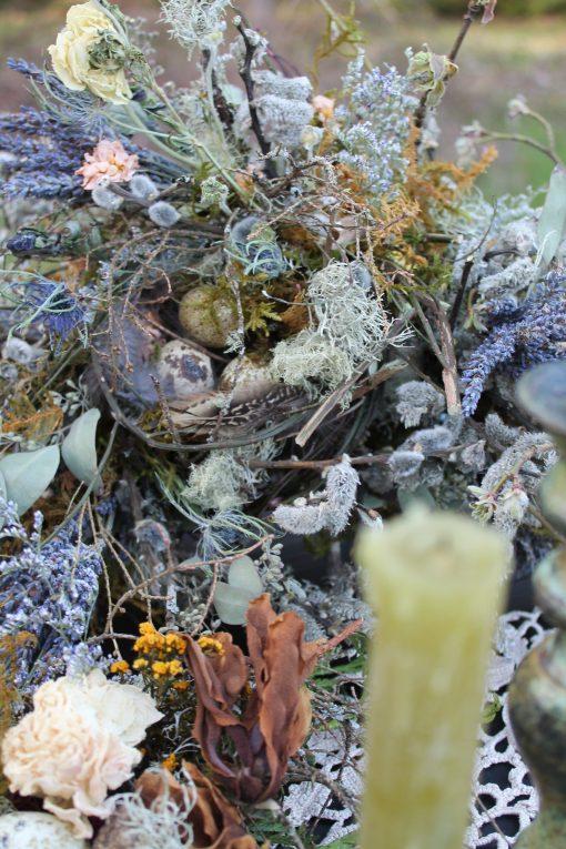 Dried Flower Bouquet, Bridal Bird Nest Wedding Nest, Blue Woodland Foraged Bouquet