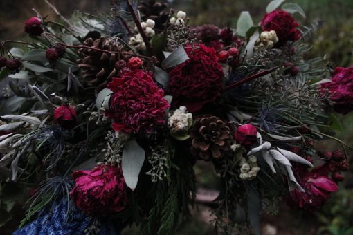 Dried Flower Bouquet, Christmas Flowers, Burgundy Peony Red Pinecone Elopement
