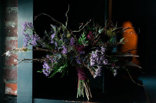 Dried Flower Bouquet, Lavender Bridal Jewel Tone Ultraviolet Marsala Lavender, Burgundy Purple Bouquet