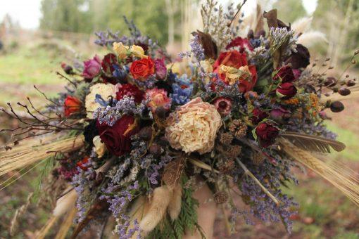Dried Flower Bouquet, Pampas Grass Bouquet, Lavender Wheat Rainbow Bridal Autumn Elopement