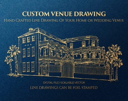 Custom Wedding Venue Drawing, Hand Drawn Digital File, Scalable Vector Svg