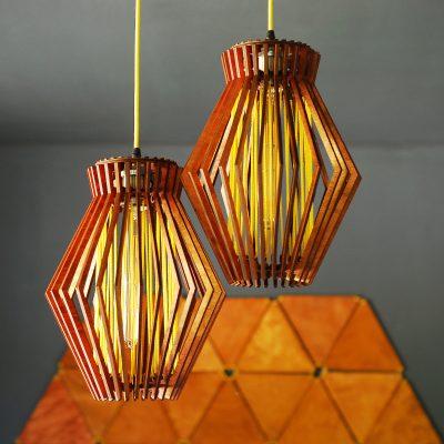 2-Lamp Mid Century Modern Wooden Pendant Light, Mcm Hanging Lamp, Lamp Shade, Contemporary Light Fixture, Unique Chandelier