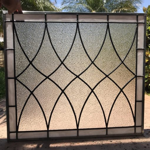 Stained Glass Window Panel Or Cabinet Insert - Hayward Clear Textured Tudor Style Diamond Abstract Customizable Item#237