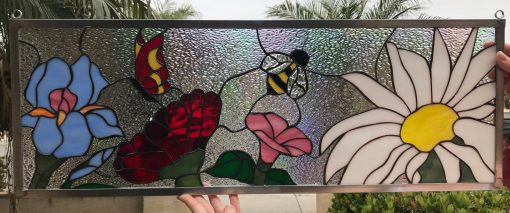 Butterfly Bee Flowers Stained Glass Window Panel Transom - Clear Textured Art Customizable Item#215
