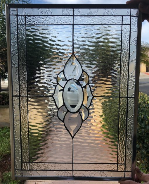 Beveled Stained Glass Clear Textured Window, Panel - The Santa Rosa Geometric Abstract Modern Art Customizable Item#319