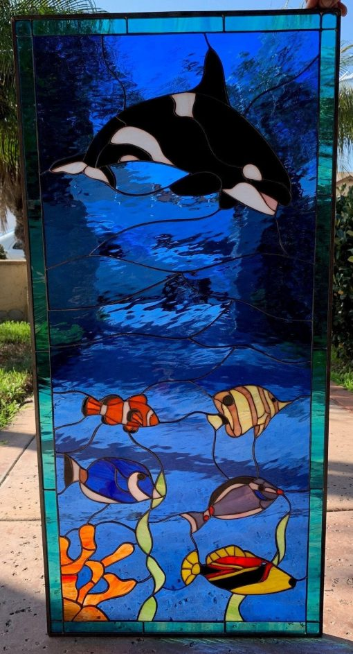 Whale Stained Glass Window Panel - Orca, Clownfish, Triggerfish Art Black Under Sealife Customizable Item# 38