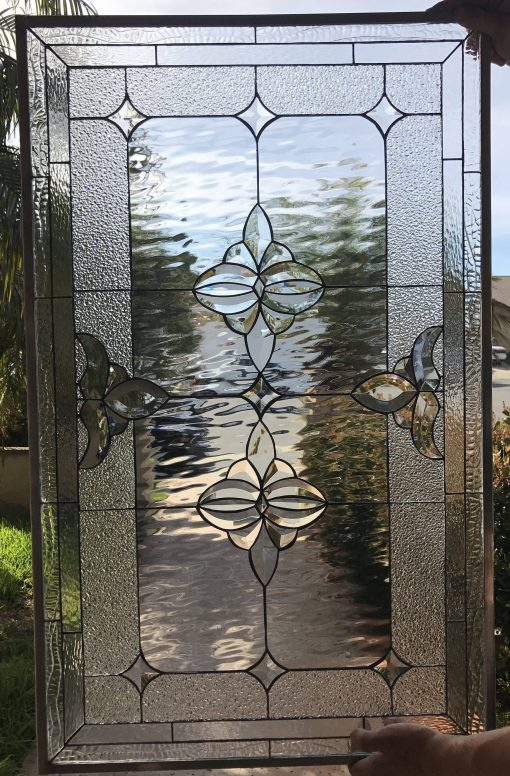Classic Beveled Stained Glass Window Insert Panel - Riverside Clear Floral Design Geometric Pattern Customizable Item# 74