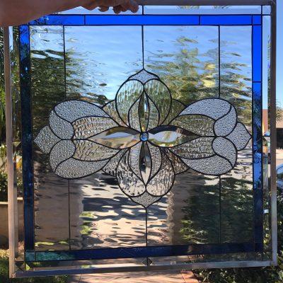 Beveled Leaded Stained Glass Window Panel, Hangings - Santa Paula Clear Art Decor Water Effect Modern Customizable Item# 67