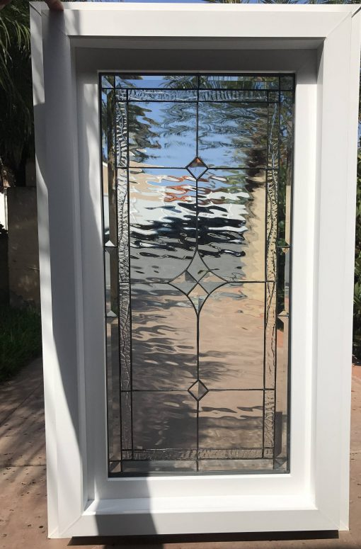 Clear Stained Glass Beveled Window Panel - Vinyl Framed Tempered Insulated Palm Springs Diamond Jewels Customizable Item# 34