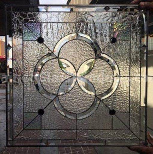 """Clear Stained Beveled Glass Window Panel - Orinda Floral Design Leaded Art Water Effect 24"""" X Customizable Item# 30"""""""