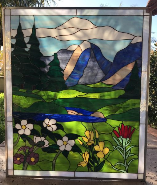 Autumn Wildflowers Leaded Stained Glass Window Panel, Hangings - Nature Landscape Mountains Lake Flowers Customizable Item#131