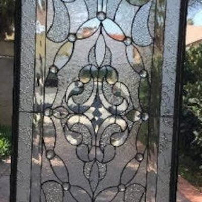 stained Glass Transom Window Panel, Cabinet Insert - Victorville Clear Geometric Abstract Pattern Design Customizable Item#289