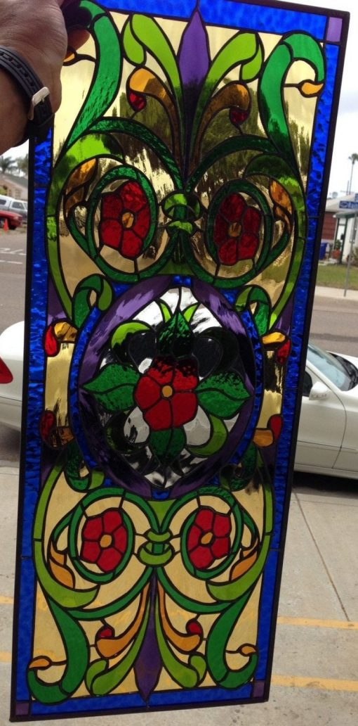 Victorian Style Jewel Toned Stained Glass Window Panel, Hangings - Leaded Art Stain Flower Design Customizable Item#427