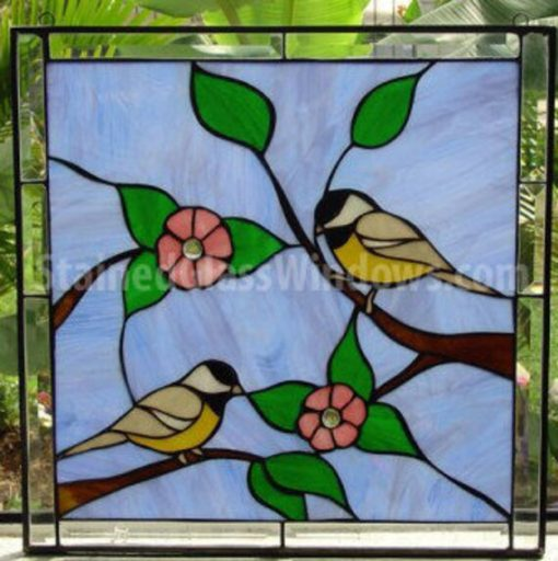 Sparrow Stained Glass Window Panel, Hangings - Birds, Blossoms, Art Decor, Leaded Customizable Item#253