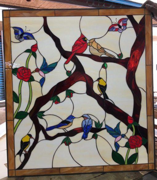 Birds, Butterflies & Roses Leaded Stained Glass Window Panel - Cardinal, Hummingbird, Sparrow, Cherry Art Customizable Item#246