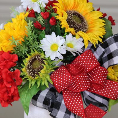 Sunflower Centerpiece, Summer Table Top Decor, Farmhouse Arrangement, Red Geranium Country Kitchen Tabletop Decor