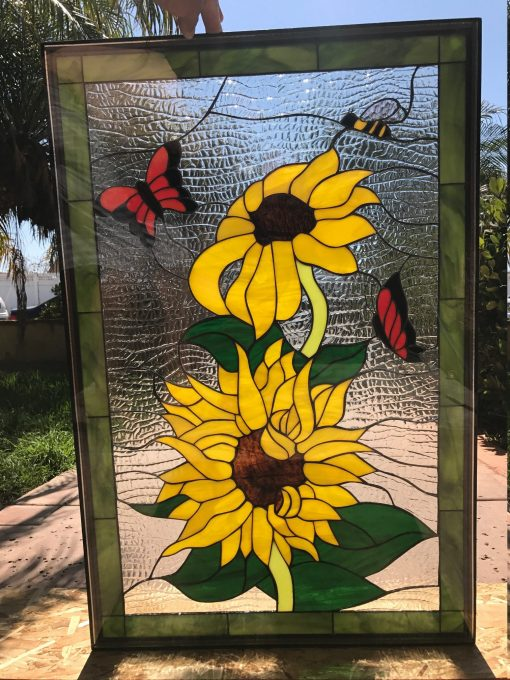 Sunflower , Bumblebee, & Butterfly Window Panel - Stained Glass Customizable Item #537