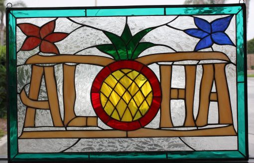 Aloha & Pineapple Stained Glass Window Panel, Hangings - Southwestern Hawaiian Clear Art Decor Customizable Item#395