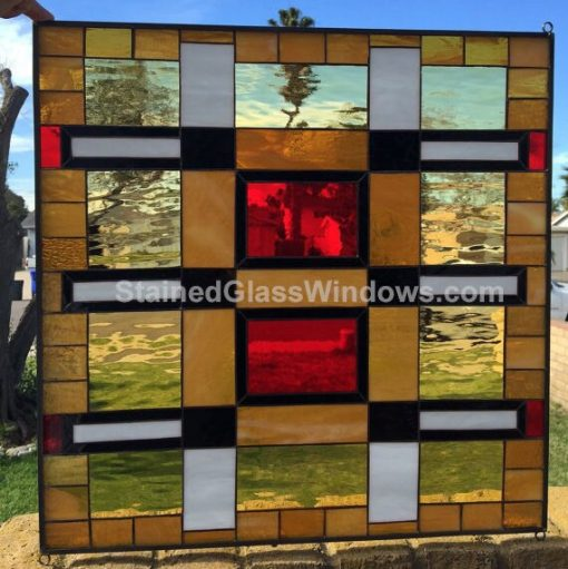 Mission Prairie Stained Glass Window Panel - Stanford Clear Art Geometric Abstract Modern Decor Customizable Item#434