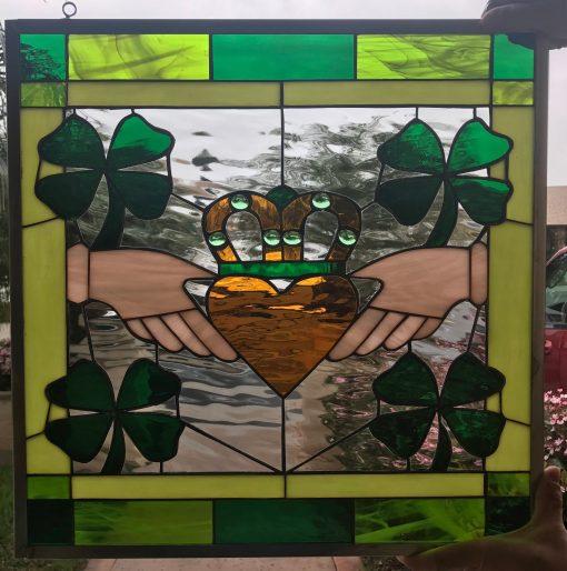 Irish Claddagh Ring Shamrock Stained Glass Window Panel, Hangings, Cabinet Insert - Celtic Symbol Custom Made Item#496