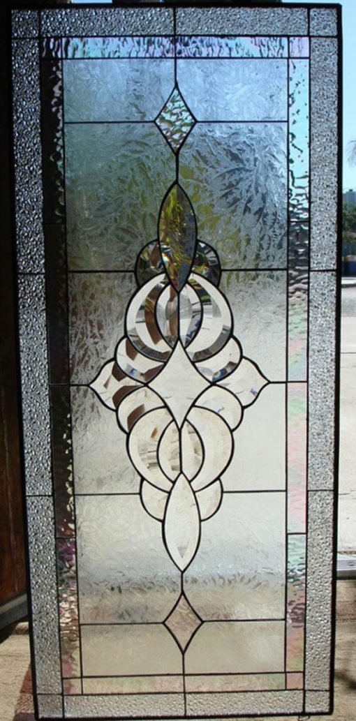 Attractive Clear Textured Beveled Stained Glass Window Panel - Oakley Art Geometric Abstract Customizable Item#106