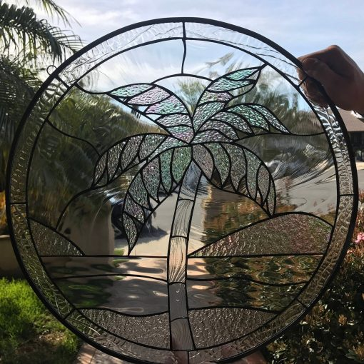 Iridescent Palm Tree Stained Glass Window Panel, Hangings - Clear Textured Art Round Coconut Decor Customizable Item#171