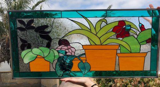 Terracotta & Succulents Stained Glass Window Panel - Succulent Terrarium Plant Art Decor Gift Customizable Item#257