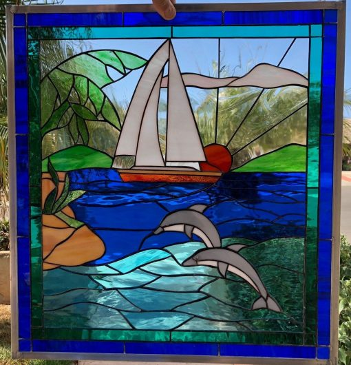 Dolphins & Sailboat Stained Glass Window Panel - Lake Two Jump Sunrise Ocean Wave Stain Art Decor Customizable Item#483