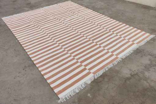 Cotton Home Décor Living Room Rug Rags Flat Weave 8'x10' Hand Woven Natural Vegetable Dyed Tan & White Reversible Striped Area Dhurrie