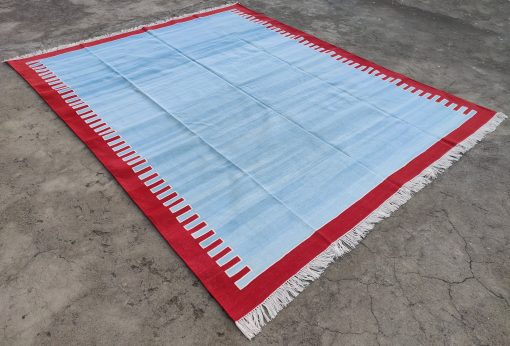 Cotton Home Décor Living Room Rug Rag Flat Weave 9'x12' Hand Made Natural Vegetable Dyed Blue Red Scalloped Reversible Striped Dhurrie Area