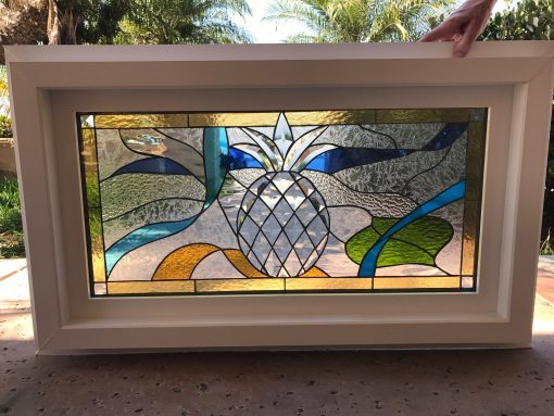Pineapple & Ribbons Stained Glass Window Panel - Arcadia Classic Beveled With Frame Customizable Item# 46