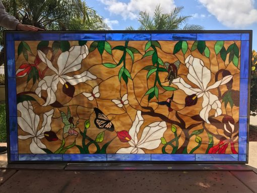 Wild Orchids, Butterfly, & Fairy Window Panel - Stain Glass Customizable Item #518