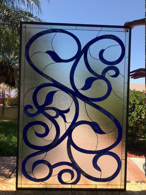 Cobalt Blue Scrolls & Ribbons Window Panel - Stained Glass Customizable Item #535