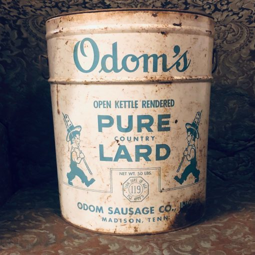 Vintage Tin Lard Can - Odom's Sausage Company Madison Tennessee Kettle Rendered Country 50lb Antique Tin. Farm Kitchen Decor
