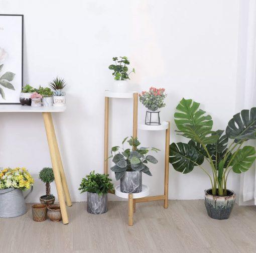 3 Tier Corner Wooden Plant Stand Ladder Flower Pot Display Rack Shelf Gift Organization Minimalisticon Sale