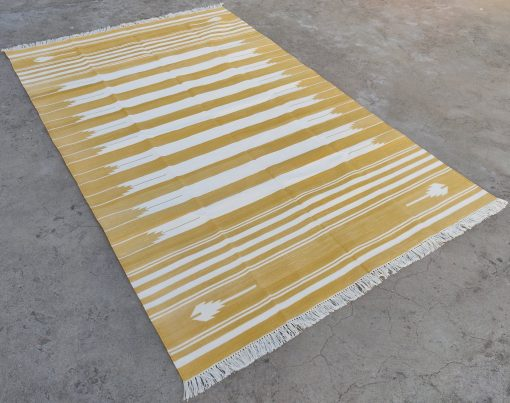 Cotton Home Décor Living Room Flat Weave Rug 6'x9' Handwoven Natural Vegetable Dyed Yellow & White Reversible Striped Area Durrie