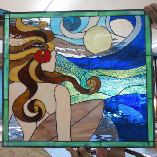 """Beauty & The Beach Stained Glass Panel, Window, Hangings - Ocean Wave Surfer Blue 22x22 Customizable Item#126"""""""