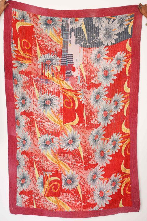 Jaipuri Design Vintage Kantha Quilt Home Decor Reversible Throw High Quality Organic Cotton Bedsheet Recycled Old Blanket